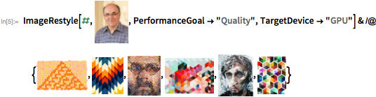 "ImageRestyle[#, [] PerformanceGoal -> ""Quality"", TargetDevice -> ""GPU""] & /@ {insert image,insert image,insert image,insert image,insert image,insert image}"