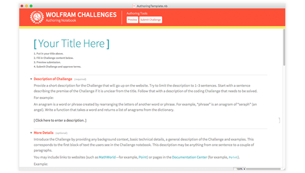 Challenges Authoring Notebook