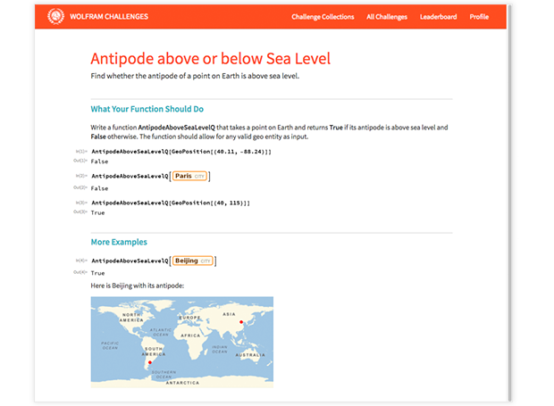 Antipode above or below Sea Level Challenge