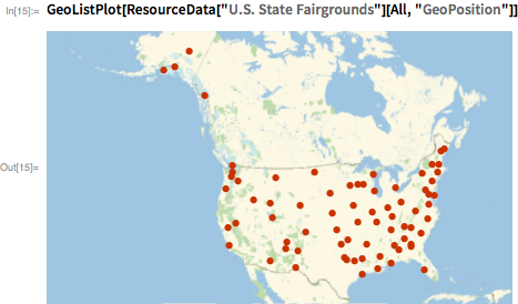 "GeoListPlot[  ResourceData[""U.S. State Fairgrounds""][All, ""GeoPosition""]]"