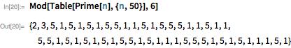 Mod[Table[Prime[n], {n, 50}], 6]