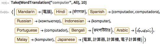 "Take[WordTranslation[""computer"", All], 10]"