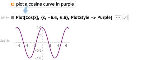 Plot a cosine curve in purple
