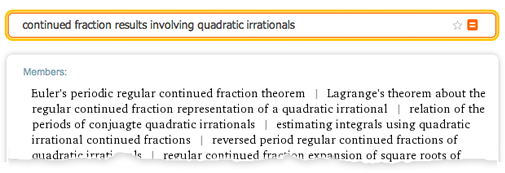 """Wolfram Alpha results for """"continued fraction results involving quadratic irrationals"""""""