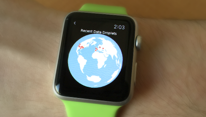 Data Droplets app on the watch--just touch the screen...