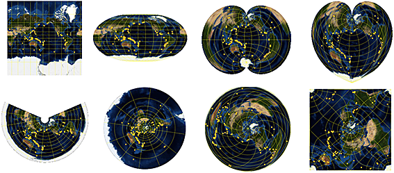 Just a few of the many geo projections in the Wolfram Language