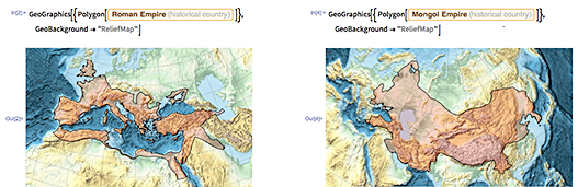 Easily find—and do computation with—the maximum geographical extent of the Roman Empire and much more