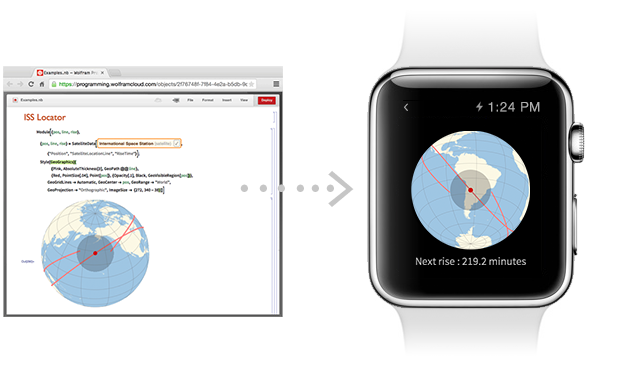 A few lines of Wolfram Language code creates and deploys an Apple Watch app