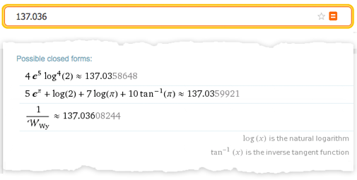 """Wolfram Alpha shows possible closed forms for the continued fraction """"137.036"""""""
