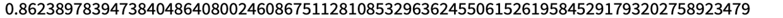 N[FromDigits[{Flatten[CellularAutomaton[30, {{1}, 0}, {500, {0}}]], 0}, 2], 85]