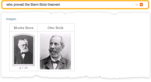 """Wolfram Alpha results for """"who proved the Stern-Stolz theorem%quot;"""