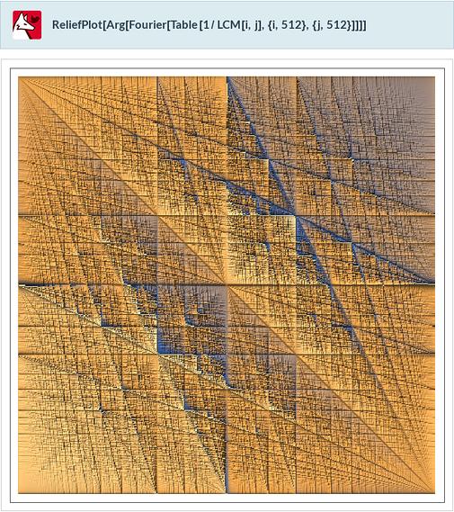 ReliefPlot[Arg[Fourier[Table[1/LCM[i,j],{i,512},{j,512}]]]]