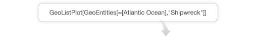 "GeoListPlot[GeoEntities[=[Atlantic Ocean],""Shipwreck""]]"