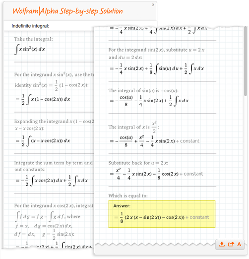 Wolfram Alpha's step-by-step solution for an indefinite integral