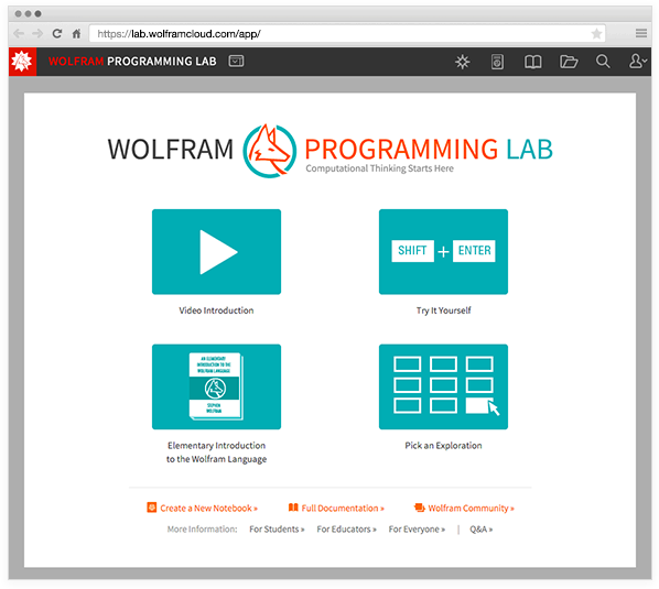 The Wolfram Programming Lab startup screen