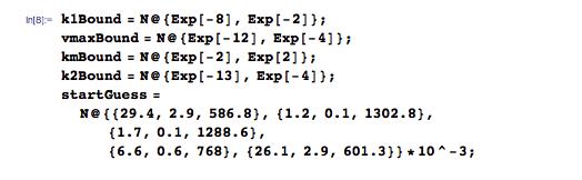 List of reasonable parameter boundaries and start guesses
